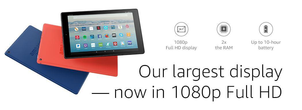 "טאבלט FIRE של אמזון! 10.1 אינץ 1080p Full HD אמזון ארה""ב"