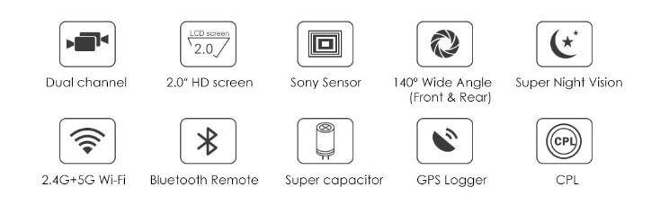 מצלמת רכב דואלית VIOFO A129 עם מסך 2 אינ'ץ GPS ו- WIFI מובנה