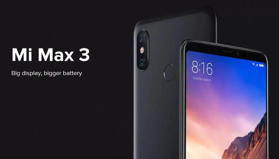 סמארטפון XIAOMI MI MAX 3 דגם 4GB 64GB גירסא גלובלית