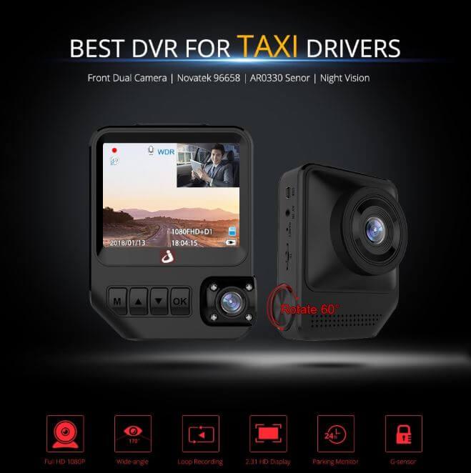 מצלמת רכב דואלית junsun Q2 עם מסך 2.3 אינץ'