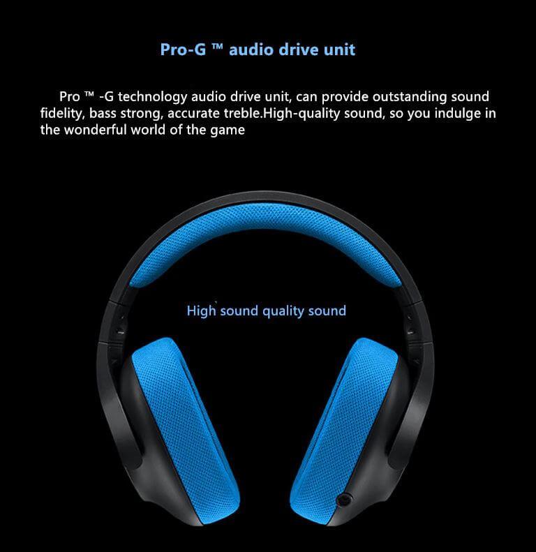 אוזניות חוטיות Logitech G233 לוג'יטק מתאימות לפלייסטיישן אקסבוקס ומחשב
