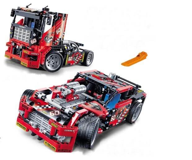 משחק בניה והרכבה 2 ב 1 גם מכונית מירוץ וגם משאית Decool 3360 עם 608 חלקים