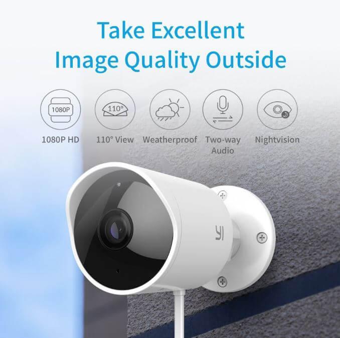 מצלמת אבטחה YI חיצונית 1080P עמידה למים IP65 דגם בינלאומי