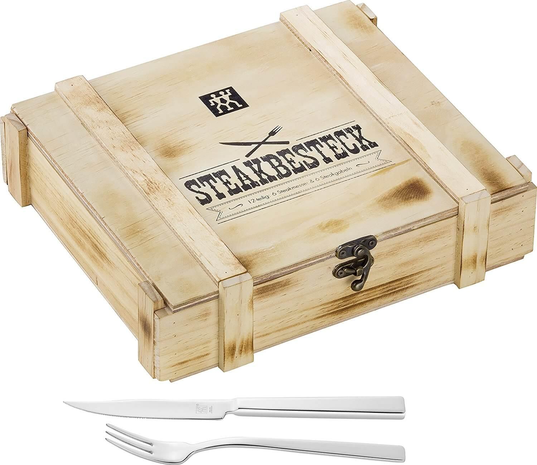 """סט סכו""""ם 12 חלקים Zwilling Steakbesteckset כולל 6 סכינים ו- 6 מזלגות בקופסאת עץ מהודרת"""