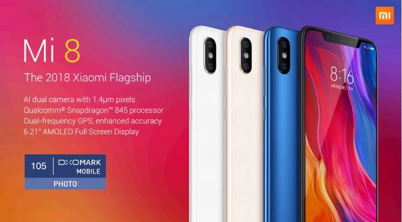 סמארטפון Xiaomi Mi 8 דגם 6GB +128GB גירסא גלובלית