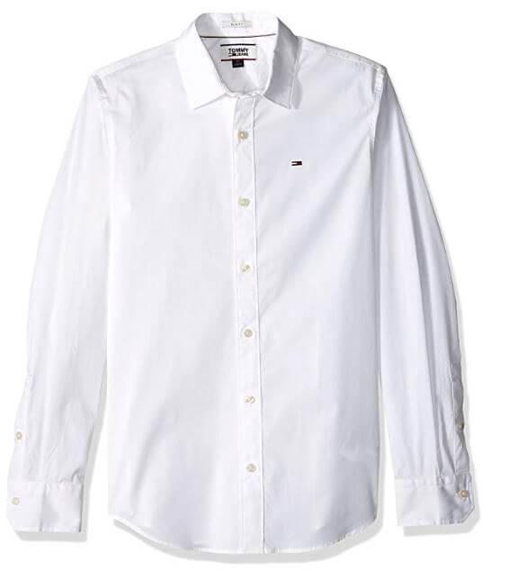 חולצה מכופתרת Tommy Hilfiger צבע לבן לגבר