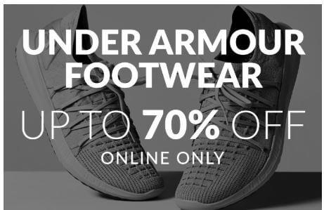 מבצע עד 70% הנחה על נעלי אנדר ארמור