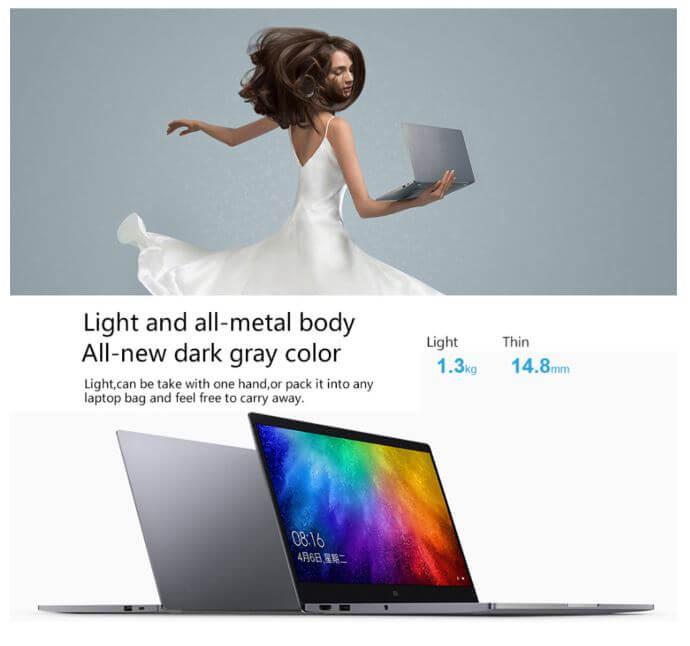"""מחשב נייד Xiaomi Mi Notebook Air מסך 13.3"""" FHD מעבד Intel Core i5-8250U עם 8GB DDR4 וכונן 256GB SSD"""