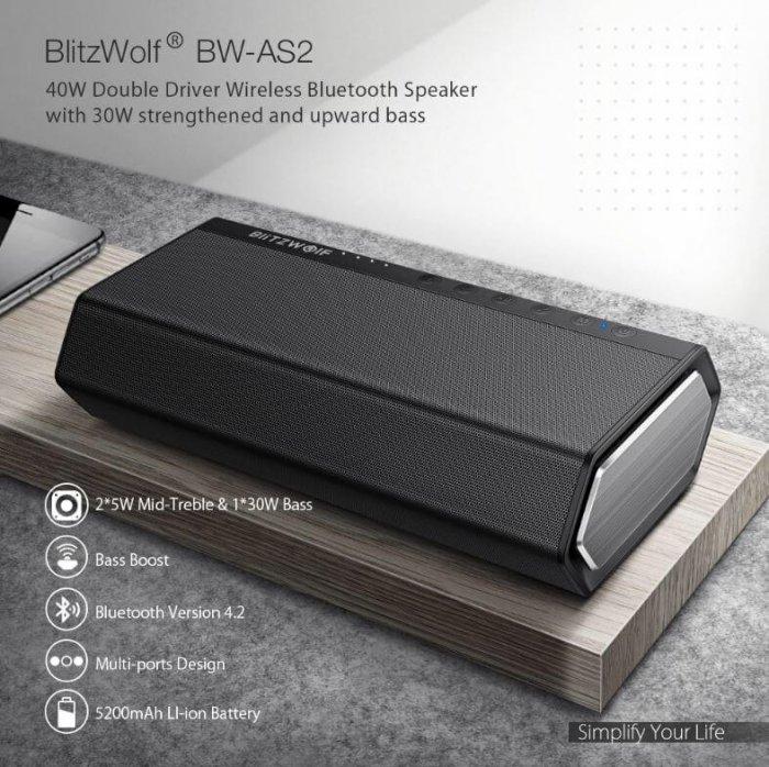BlitzWolf BW-AS2 רמקול בלוטוט' עוצמתי 40W עם מיקרופון מובנה