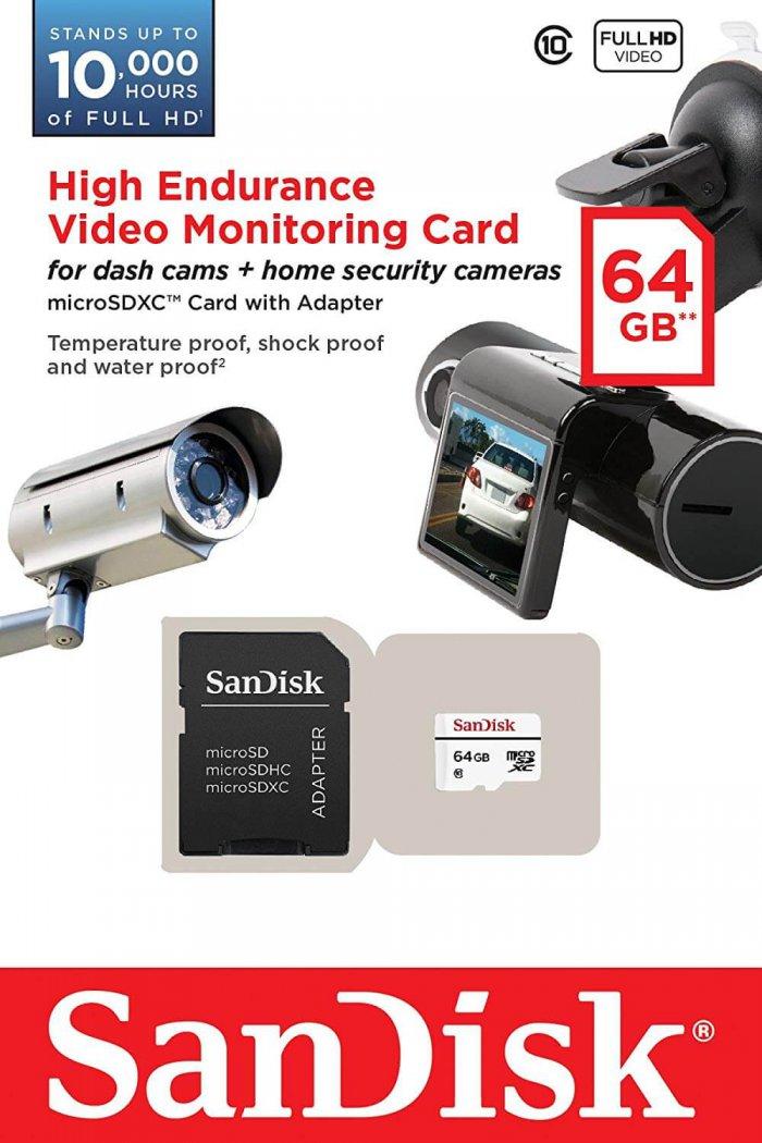 כרטיס זכרון SanDisk High Endurance בנפח 64GB מומלץ במיוחד למצלמות רכב