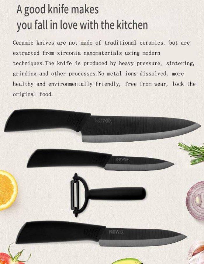 סט 4 חלקים סכינים קרמיים וקולפן מבית שיאומי