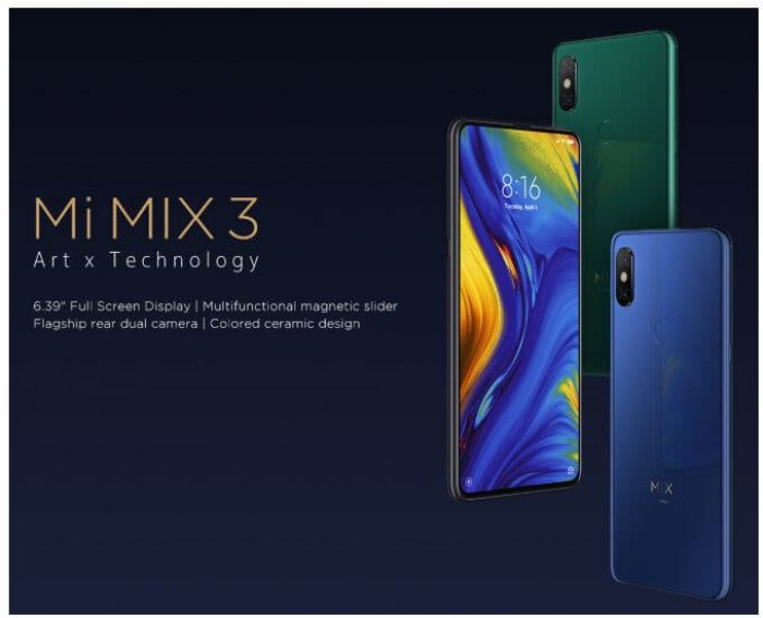 סמארטפון Xiaomi Mi MIX 3 דגם 6GB+128GB גירסא גלובלית