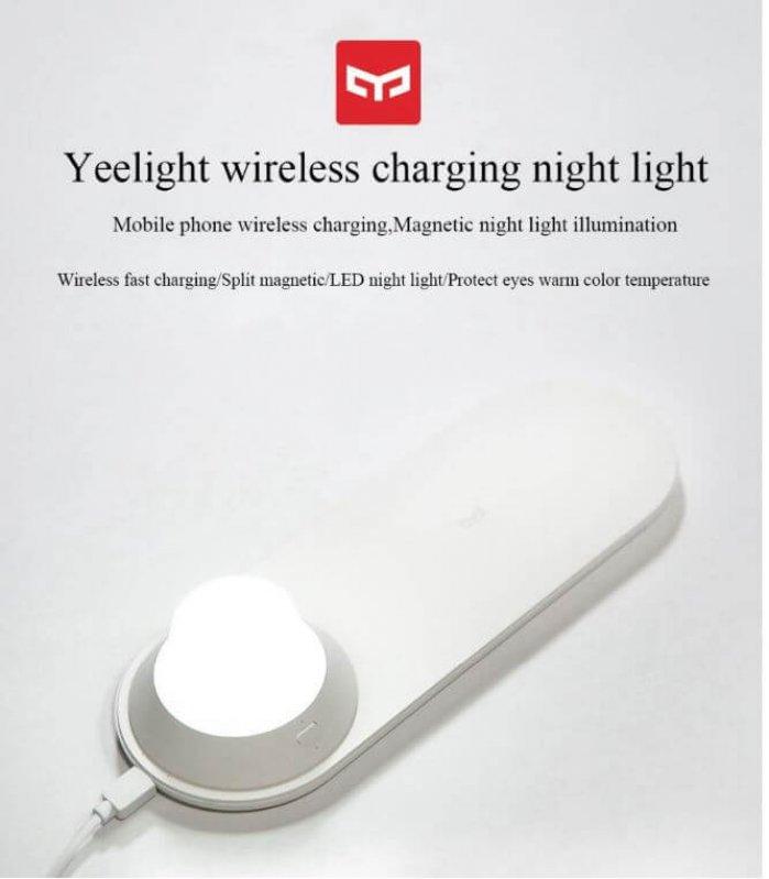 מטען טעינה אלחוטית מהיר Xiaomi Yeelight כולל מנורת לילה