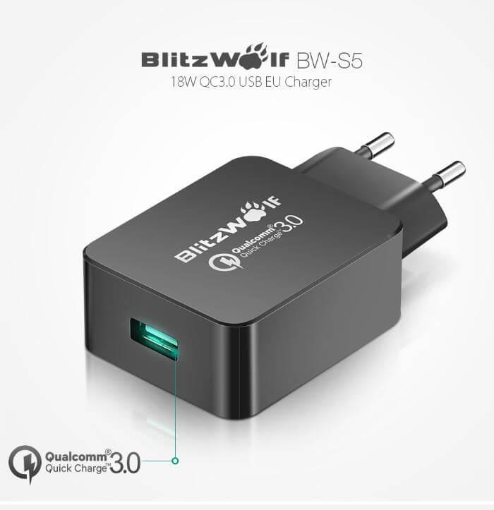 מטען BlitzWolf BW-S5 תומך טעינה מהירה QC3.0 עם טכנולוגיית Power3S