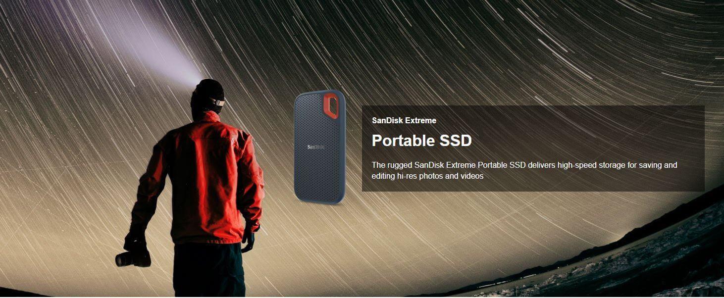 כונן SSD חיצוני SanDisk 250GB Extreme עמיד למים ואבק