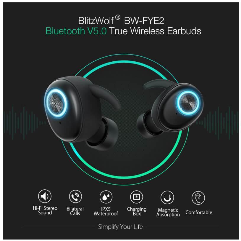אוזניות Blitzwolf BW-FYE2 TWS אלחוטיות באמת