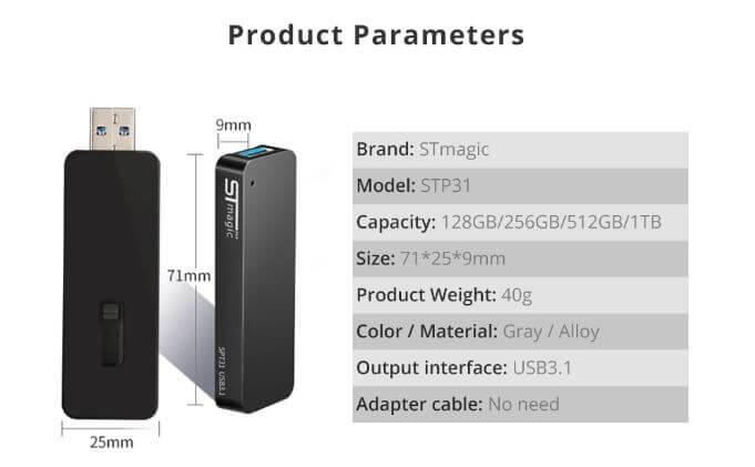 כונן מיני SSD חיצוני נייד STmagic SPT31 בנפח 512GB