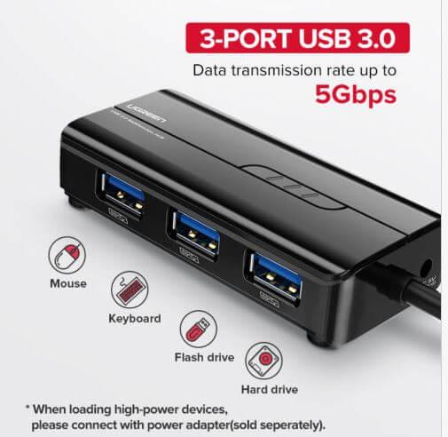 מפצל USB 3.0 של UGREEN כולל כניסת אינטרנט קוי מעולה לסטרימר שיאומי
