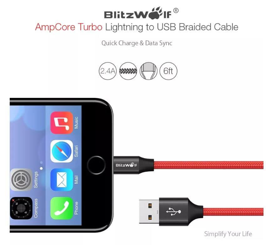 BlitzWolf BW-MF10 כבל טעינה וסנכרון מומלץ לאייפון