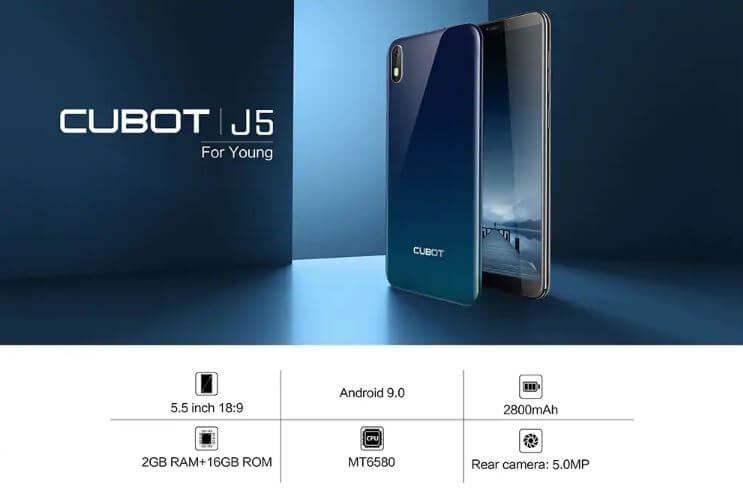 Cubot J5 סמארטפון 5.5 אינ'ץ דגם 2GB 16GB
