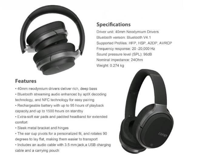 אוזניות בלוטוט' EDIFIER W830BT