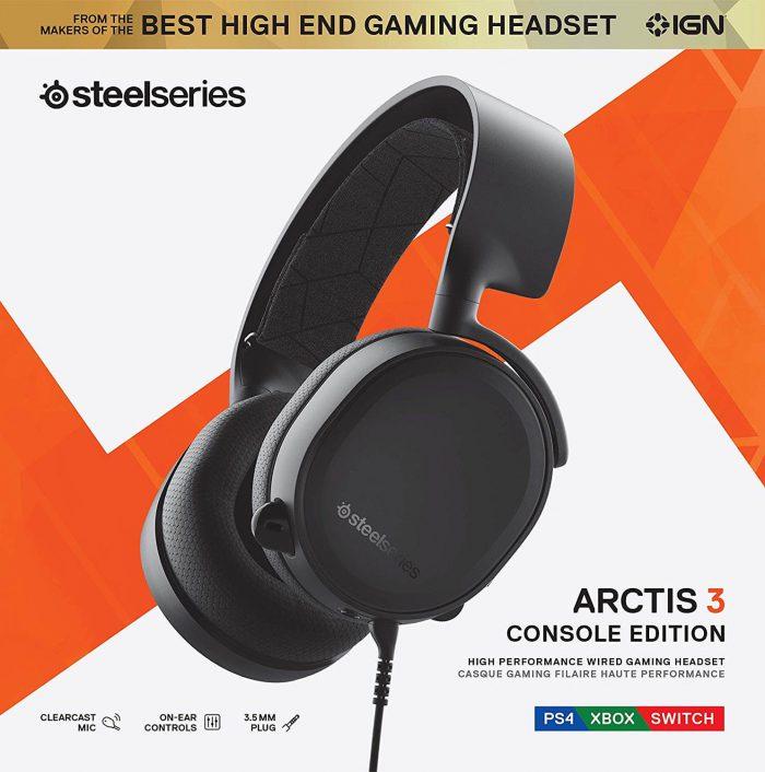 אוזניות גיימינג SteelSeries Arctis 3 דגם 2019 כולל מיקרופון