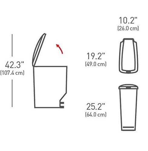 פח פדל simplehuman בנפח 40 ליטר