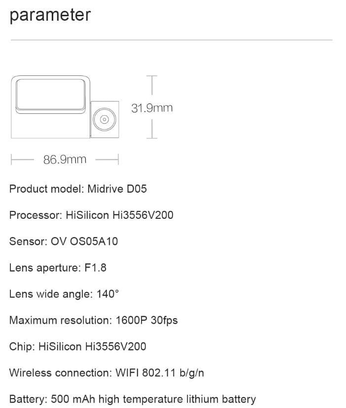 מצלמת רכב 70mai Mini Midrive D05